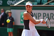 Garbine Muguruza (ESP) during the preliminary rounds of the Roland Garros Tennis Open 2017 at  at Roland Garros Stadium, Paris, France on 2 June 2017. Photo by Jon Bromley.