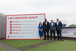 © Licensed to London News Pictures. 04/06/2016. LONDON, UK.  BORIS JOHNSON, SOL CAMPBELL, PRITI PATEL and MICHAEL GOVE attend a Vote Leave rally at Forman's Fish Island in east London. Vote Leave is the official campaign for a Leave vote (Brexit) in the EU Referendum that will take place in the United Kingdom on the 23rd June 2016.  Photo credit: Vickie Flores/LNP