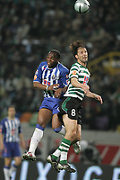 """LISBOA 21 MARCH 2005: # and # in the 26 leg of the Super Liga, season 2004/2005, match  Sporting CP (2) vs FC Porto (0), held in """"Alvalade XXI"""" stadium,  21/03/2005  20:48:02<br /> (PHOTO BY: NUNO ALEGRIA/AFCD)<br /> <br /> PORTUGAL OUT, PARTNER COUNTRY ONLY, ARCHIVE OUT, EDITORIAL USE ONLY, CREDIT LINE IS MANDATORY AFCD-PHOTO AGENCY 2004 © ALL RIGHTS RESERVED"""