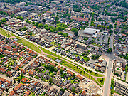 Nederland, Overijssel, Gemeente Hellendoorn; 21–06-2020; Twente, Nijverdal. Centrum van de stad met Salland-Twentetunnel. Sinds 2015 lopen de spoorlijn Zwolle - Almelo en provinciale weg N35 door deze combitunnel.<br /> Twente, Nijverdal. City center with Salland-Twente tunnel. The Zwolle - Almelo railway line and the N35 provincial road are running through this combination tunnel.<br /> <br /> luchtfoto (toeslag op standaard tarieven);<br /> aerial photo (additional fee required)<br /> copyright © 2020 foto/photo Siebe Swart