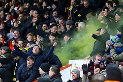 Watford fans throw yellow smoke bombs on the pitch - Mandatory by-line: Jason Brown/JMP - 21/01/2017 - FOOTBALL - Vitality Stadium - Bournemouth, England - Bournemouth v Watford - Premier League