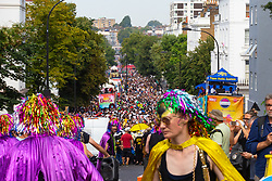 Tens of thousands of revellers fill the streets of Notting Hill as day one, Children's Day, of the Notting Hill Carnival gets underway in London. London, August 25 2019.