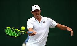 Sam Querrey in action on day three of the Wimbledon Championships at the All England Lawn Tennis and Croquet Club, Wimbledon. PRESS ASSOCIATION Photo. Picture date: Wednesday July 4, 2018. See PA story TENNIS Wimbledon. Photo credit should read: Nigel French/PA Wire. RESTRICTIONS: Editorial use only. No commercial use without prior written consent of the AELTC. Still image use only - no moving images to emulate broadcast. No superimposing or removal of sponsor/ad logos. Call +44 (0)1158 447447 for further information.