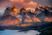 Cuernos del Paine at dawn, Lago Pehoe, Torres del Paine National Park, Patagonia, Chile