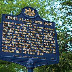 Gettysburg, PA, USA - March 23, 2012: The Eddie Plank Historic Marker Sign in Gettysburg.