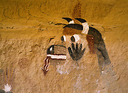 """Historic Zuni pictograph of """"Wakashi"""" or the """"Cow Kachina"""" near the Village of the Great Kivas, Zuni Reservation, New Mexico."""