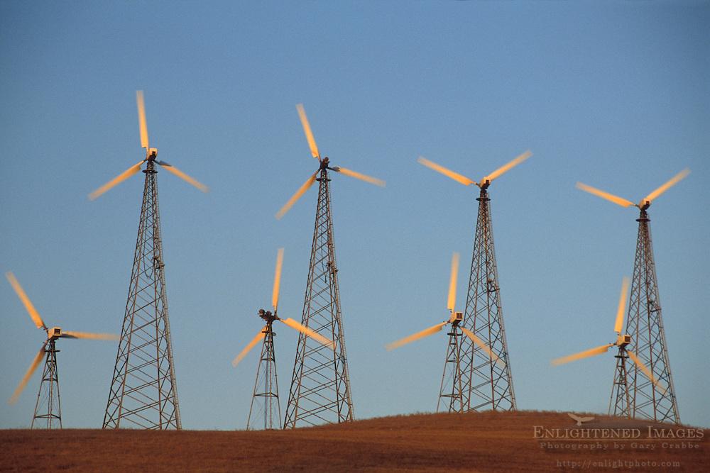 Electric power generator windmills in utility wind farm, Altamont Pass, Alameda County California