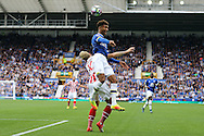 Mason Holgate of Everton gets to the ball ahead of Marko Arnautovic of Stoke City. Premier league match, Everton v Stoke city at Goodison Park in Liverpool, Merseyside on Saturday 27th August 2016.<br /> pic by Chris Stading, Andrew Orchard sports photography.