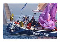 Bell Lawrie Series Tarbert Loch Fyne - Yachting.The first day's inshore races...9511C Blue Fin, Alex Heron's Class 2 boats drops their spinaker in bright conditions.