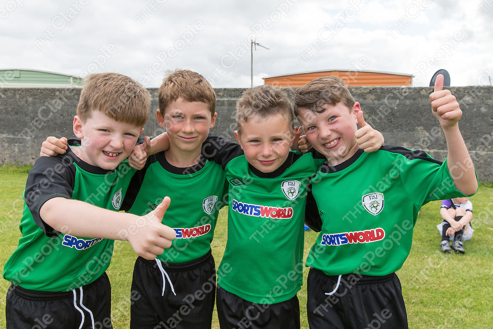 Liam O'Looney, Kealan Hogan, Philip O'Connor and Harry Keane at the FAI Soccer Summer Camp in Lahinch