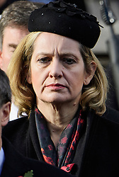 © Licensed to London News Pictures. 13/11/2016. London, UK.  Home secretary AMBER RUDD attends a Remembrance Day Ceremony at the Cenotaph war memorial in London, United Kingdom, on November 13, 2016 . Thousands of people honour the war dead by gathering at the iconic memorial to lay wreaths and observe two minutes silence. Photo credit: Ben Cawthra/LNP