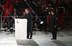 President of the International Paralympic Committee Andrew Parsons makes a speech during the opening ceremony of the PyeongChang 2018 Winter Paralympics at the PyeongChang Olympic Stadium in South Korea.