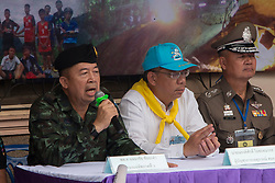 Commander Chalongchai Chaiyakham discuses the operation to extract the trapped soccer players and coach from the Tham Luang cave