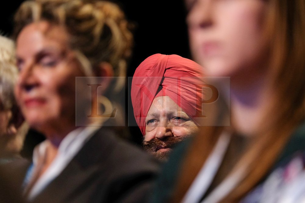 (c) Licensed to London News Pictures. <br /> 03/10/2017<br /> Manchester, UK<br /> <br /> Party supporters look on as Foreign Secretary Boris Johnson delivers his speech at the Conservative Party Conference held at the Manchester Central Convention Complex.<br /> <br /> Photo Credit: Ian Forsyth/LNP