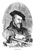 Georgius Agricola (Georg Bauer - 1494-1555) German physician, mineralogist and metallurgist. Author of 'De re metallica', Basel 1556. Engraving published Paris 1868