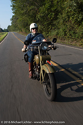 Greg McFarland riding his 1926 Harley-Davidson JD during Stage 3 of the Motorcycle Cannonball Cross-Country Endurance Run, which on this day ran from Columbus, GA to Chatanooga, TN., USA. Sunday, September 7, 2014.  Photography ©2014 Michael Lichter.