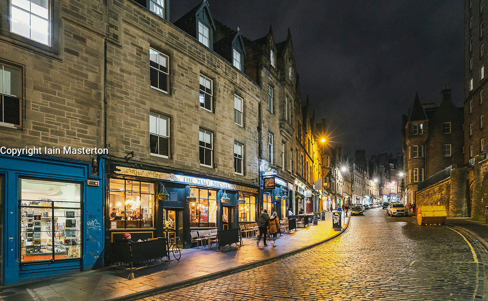 Night view of Cockburn Street in Edinburgh Old Town, Scotland, UK