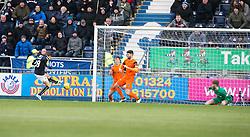 Falkirk's James Craigen (28) scoring their third goal. Falkirk 3 v 0 Dundee United, Scottish Championship game played 11/2/2017 at The Falkirk Stadium.
