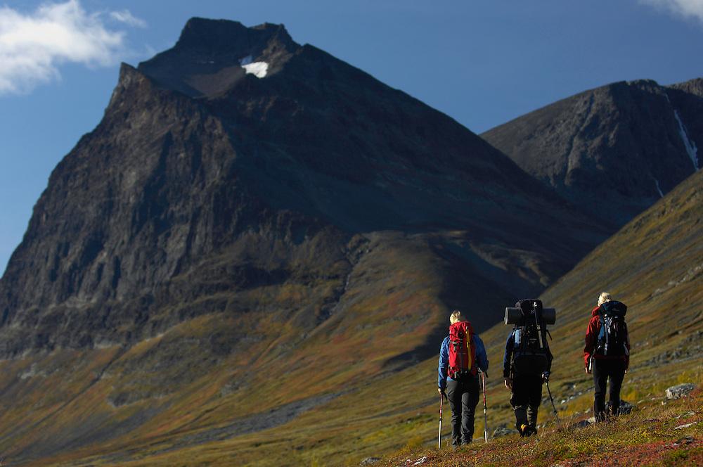 Mountaineers Camilla Antonsson, Fidde Jönsson and Pontus Tengvall hiking, Kebnekaise mountain, 2104 meters, Giebnegaise, Lappland, Lapland, Norrbotten, Sweden.
