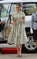 The Duchess of Sussex arrives at the Fa'onelua Convention Centre to visit an exhibition of Tongan handicrafts on the second day of the royal couple's visit to Tonga.