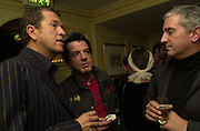 Mario Testino, Nicky Haslam and Patrick Kinmouth. Nicky Haslam celebrated his birthday by throwing a party for Jerry Hall. dorchester Club. 1 October 2000. © Copyright Photograph by Dafydd Jones 66 Stockwell Park Rd. London SW9 0DA Tel 020 7733 0108 www.dafjones.com