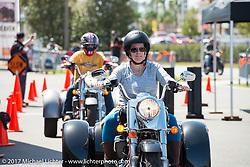 Harley-Davidson display at the Speedway during Daytona Beach Bike Week. FL. USA. Saturday March 11, 2017. Photography ©2017 Michael Lichter.