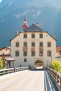 The old bridge and the tower house at Pfunds is a municipality in the district of Landeck in the Austrian state of Tyrol