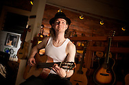 2010 November 30 - Professional guitarist Brian Lally at Guitar Emporium, Ballard, Seattle, WA, USA. CREDIT: Richard Walker/Vecta Photo