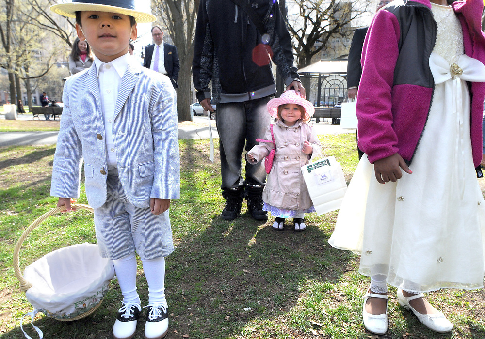 (Mara Lavitt — New Haven Register) <br /> April 20, 2014 New Haven<br /> New Haven's Trinity Church on the Green held its fifth annual Easter Egg Hunt on the Upper Green in New Haven. Francis Segger, age 4 of Madison, and Jasmyne Sky Mendez age 2 of New Haven await the start of the hunt.<br /> mlavitt@newhavenregister.com