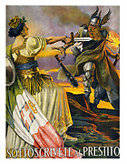 Sottoscrivete al prestito Italian World War I Poster shows a classical female figure, representing Italy, wearing a crown, armour and draped in the Italian flag, holding a sword toward a Nordic warrior coming over mountains. 1917