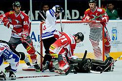 29.06.2010, Löfbergs Lila Arena, Karlstad, SWE, IIHF In Line Hockey World Championships 2010, Finland (FIN) vs Austria (AUT), im Bild Goalie Bernhard Starkbaum of Austria stopped the finish pressure in first quarter at Game. EXPA Pictures © 2010, PhotoCredit: EXPA/ Sportida/ Matic Klansek Velej +++ Slovenia OUT +++