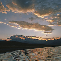 Sunset over huge saline lake that is engulfed in water war.