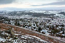 © Licensed to London News Pictures. 09/02/2021. Ilkley UK. The Yorkshire town of Ilkley covered in snow this morning as Storm Darcy continues to batter the uk. Photo credit: Andrew McCaren/LNP