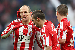 12-02-2011 VOETBAL: BAYERN MUNCHEN - TSG 1899 HOFFENHEIM: MUNCHEN<br /> Jubel nach dem 4-0 durch Arjen Robben (Bayern #10) mit Franck Ribery (Bayern #7)  und Bastian Schweinsteiger (Bayern #31)<br /> ***NETHERLANDS ONLY***<br /> ©2010- FRH-nph / Straubmeier