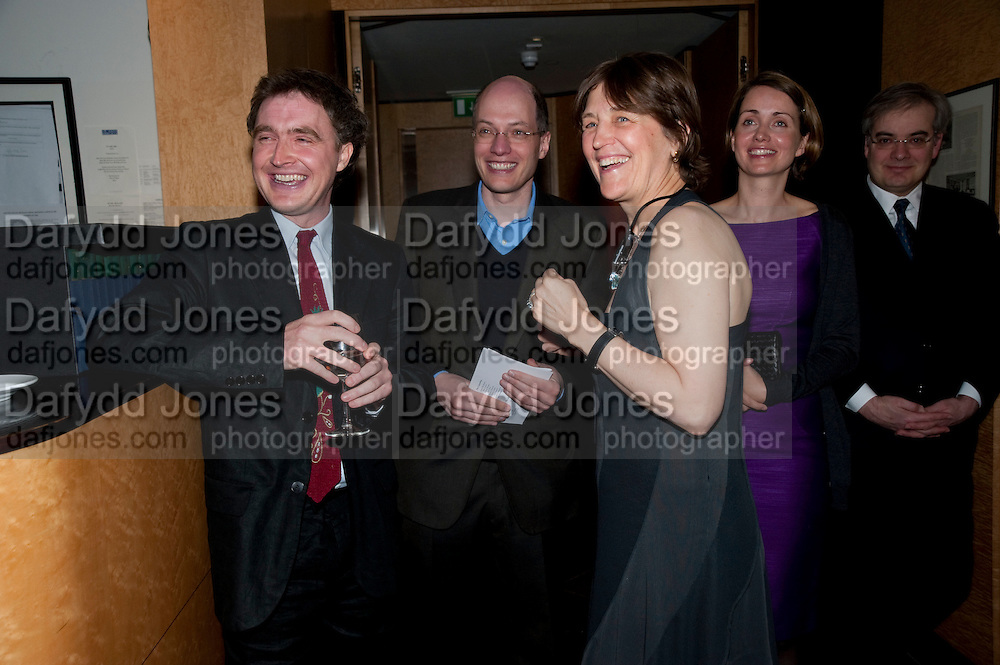 WILL FIENNES; ALAIN DE BOTTON; CAROLINE WALDEGRAVE; CHARLOTTE DE BOTTON;  Literary charity First Story fundraising dinner. Cafe Anglais. London. 10 May 2010. *** Local Caption *** -DO NOT ARCHIVE-© Copyright Photograph by Dafydd Jones. 248 Clapham Rd. London SW9 0PZ. Tel 0207 820 0771. www.dafjones.com.<br /> WILL FIENNES; ALAIN DE BOTTON; CAROLINE WALDEGRAVE; CHARLOTTE DE BOTTON;  Literary charity First Story fundraising dinner. Cafe Anglais. London. 10 May 2010.