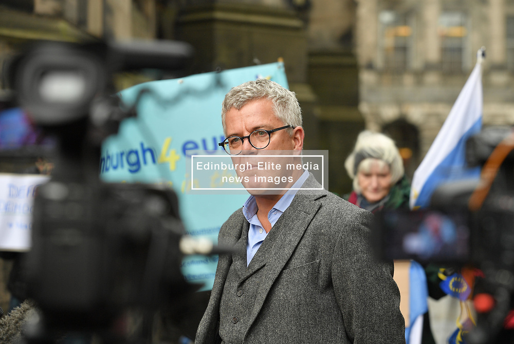 Pictured: Jo Maugham QC from the Good Law Project who were one of the parties who brought the case, speaks to the media outside Court after the decision.<br /> <br /> Lord Peatland, sitting in the Court of Session, today rejected a bid by campaigners including SNP MP Joanna Cherry and others to force Prime Minister Boris Johnson to abide by the so called 'Benn Bill' and seek an extension to the October 31st Brexit date.<br /> <br /> © Dave Johnston / EEm