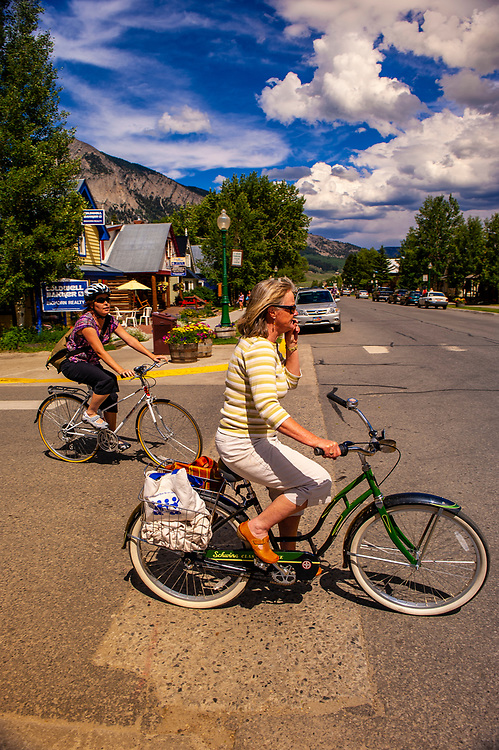 Local women on bicycles, Crested Butte, Colorado USA
