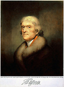 Thomas Jefferson (1743-1826) Third President of the United States 1801-1809.  Lithograph after the 1805 portrait by Rembrandt Peale.