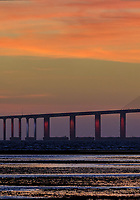 Sunshine Skyway Bridge at Dawn from Fort De Soto Park. Split print 2 of 6 images taken with a Fuji X-H1 camera and 200 mm f/2 OIS lens (ISO 400, 200 mm, f/11, 1/20 sec). Raw images processed with Capture One Pro and AutoPano Giga Pro.