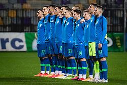 Team of Slovenia before football match between U21 Slovenia national team and U21 Russia national team in a frienly football match, on November 17, 2020 in Ljudski Vrt, Maribor, Slovenia. Photo by Blaž Weindorfer / Sportida