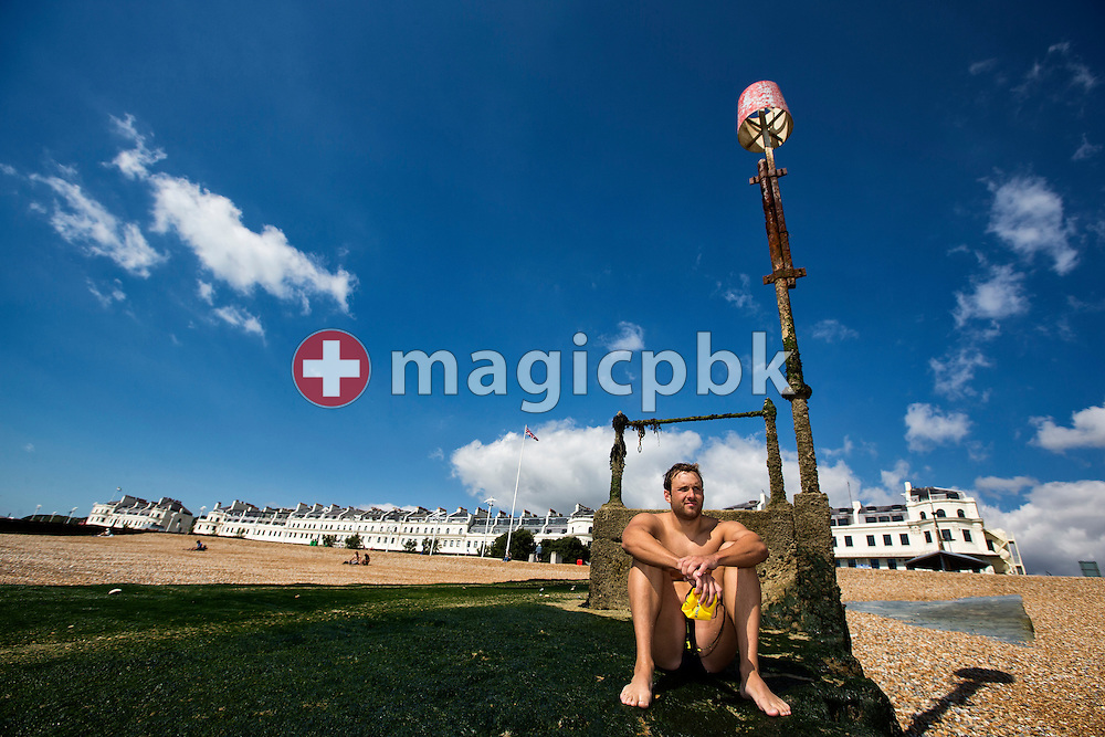 Gino Deflorian of Switzerland poses for a photo at the harbour in Dover, Great Britain, Wednesday, Aug. 14, 2013. Gino Deflorian tries to become the first Swiss male swimmer who successfully swims the English Channel form Dover/Folkestone to Calais, France. (Photo by Patrick B. Kraemer / MAGICPBK)
