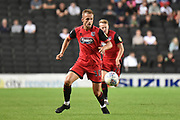 Grimsby Town striker Charles Vernam (18) sprints forward with the ball during the EFL Sky Bet League 2 match between Milton Keynes Dons and Grimsby Town FC at stadium:mk, Milton Keynes, England on 21 August 2018.