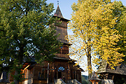 Exterior of the wooden Church of St. Kazimierz (built 1910-1916), on 17th September 2019, in Koscielisko, Zakopane, Malopolska, Poland.