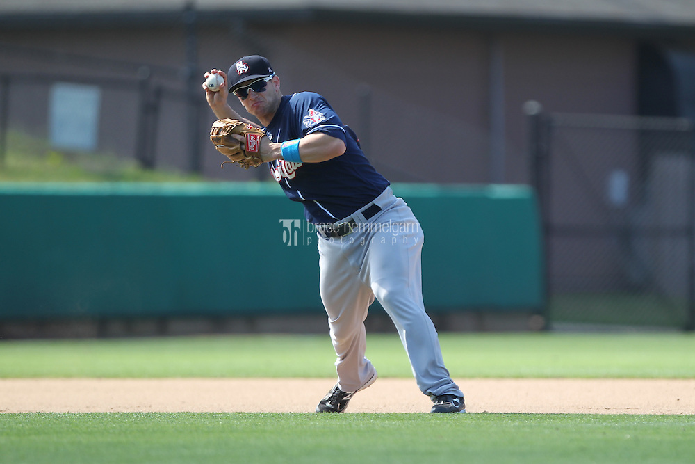 New Hampshire Fisher Cats third baseman Mark Sobolewski #14 throws during a game against the Bowie Baysox at Prince George's Stadium on June 17, 2012 in Bowie, Maryland. New Hampshire defeated Bowie 4-3 in 13 innings. (Brace Hemmelgarn)