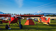 The early morning scene at the Hood River Fly In at Western Antique Aeroplane and Automobile Museum