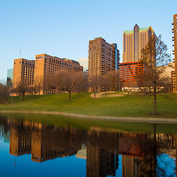 Downtown St. Louis, Missouri, as seen from the reflecting pool adjacent to he Gateway Arch.