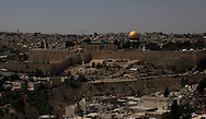 A view of the Old City of Jerusalem showing the Dome of the Rock and the  Church of the Holy Sepulchre<br /> Photo by Dennis Brack
