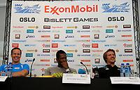 Friidrett<br /> 12. Juni 2013<br /> Bislett Games<br /> Pressekonferanse<br /> Tero Pitkämäki (L) , Keshorn Walcott (M) , Andreas Thorkildsen (R)<br /> Foto Astrid M. Nordhaug