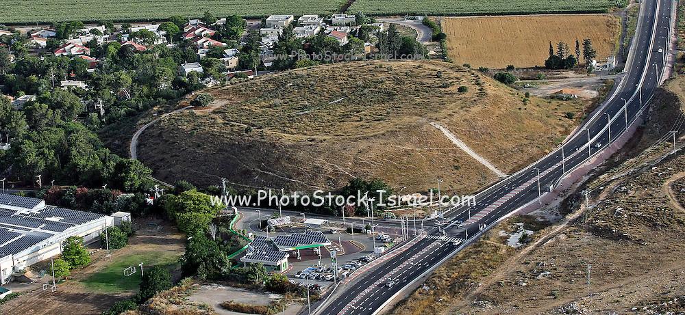 Aerial view of Kibbutz Yas'ur and highway 70, Israel