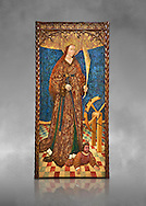 Gothic altarpiece of Saint Catarina (Catherine), 3rd quarter of the 15th century, tempera and gold leaf on for wood.  National Museum of Catalan Art, Barcelona, Spain, inv no: MNAC   114746-7. Against a grey art background. . .<br /> <br /> If you prefer you can also buy from our ALAMY PHOTO LIBRARY  Collection visit : https://www.alamy.com/portfolio/paul-williams-funkystock/gothic-art-antiquities.html  Type -     MANAC    - into the LOWER SEARCH WITHIN GALLERY box. Refine search by adding background colour, place, museum etc<br /> <br /> Visit our MEDIEVAL GOTHIC ART PHOTO COLLECTIONS for more   photos  to download or buy as prints https://funkystock.photoshelter.com/gallery-collection/Medieval-Gothic-Art-Antiquities-Historic-Sites-Pictures-Images-of/C0000gZ8POl_DCqE